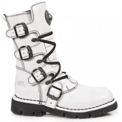 NEW ROCK COMFORT-FIT M.1473-S14 WHITE Leather Boots (SPIDER LINER)