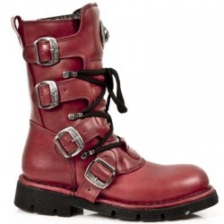 NEW ROCK COMFORT-FIT M.1473-S12 NATURE RED Leather Boots (SPIDER LINER)