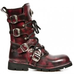 NEW ROCK COMFORT-FIT M.1473-S4 BURGUNDY Leather Boots