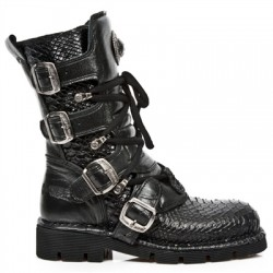 NEW ROCK COMFORT-FIT M.1473-S32 PYTHON BLACK Leather Boots