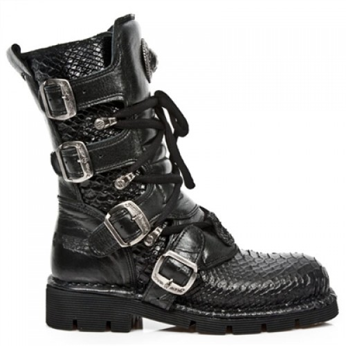 NEW ROCK COMFORT-FIT M.1473-S32 PYTHON BLACK Leather Boots, COMFORT-LIGHT, COMFORT-FIT M.1473-S32 PYTHON, COMFORT-FIT M.1473-S32 PYTHON,