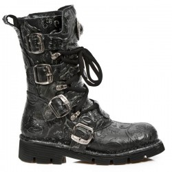 NEW ROCK COMFORT-FIT M.1473-S43 VINTAGE FLOWER BLACK Leather Boots