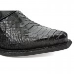 NEW ROCK DALLAS M.7934PT-S3 Black Python Snake Skin Leather Metal Heel Cowboys Shoes, DALLAS, DALLAS M.7934PT-S3, DALLAS M.7934PT-S3,