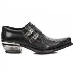 NEW ROCK DALLAS M.7934PT-S3 Black Python Snake Skin Leather Metal Heel Cowboys Shoes