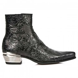 NEW ROCK DALLAS M.NW131-S1 Vinatge Flower Black Leather Metal Heel Cowboys Ankle Boots