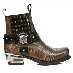 NEW ROCK DALLAS M.7959-S3 Brown Python Snake Skin Leather Metal Heel Cowboys Ankle Boots