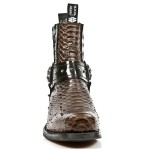 NEW ROCK DALLAS M.7959-S3 Brown Python Snake Skin Leather Metal Heel Cowboys Ankle Boots, DALLAS, DALLAS M.7959-S3, DALLAS M.7959-S3,