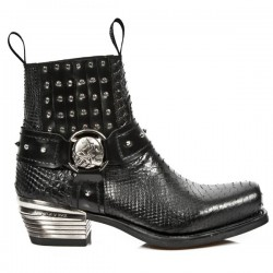 NEW ROCK DALLAS M.7959-S2 Black Python Snake Skin Leather Metal Heel Cowboys Ankle Boots