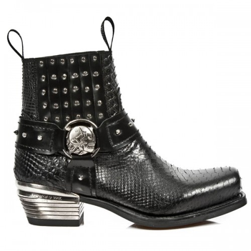 NEW ROCK DALLAS M.7959-S2 Black Python Snake Skin Leather Metal Heel Cowboys Ankle Boots, DALLAS, DALLAS M.7959-S2, ,
