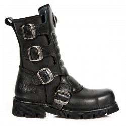 NEW ROCK METAL TOE M.1471MT-S1 Black Leather Boot