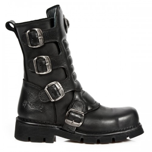 NEW ROCK METAL TOE M.1471MT-S1 Black Leather Boot, METAL TOE, TOE M.1471MT-S1, TOE M.1471MT-S1,