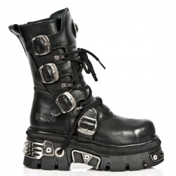 NEW ROCK METAL TOE M.373MT-S4 BLACK REACTOR LEATHER BOOT