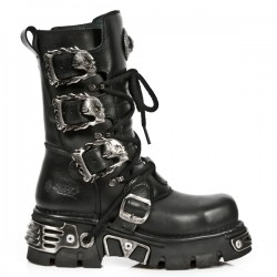NEW ROCK METAL TOE M.391MT-S1 BLACK REACTOR LEATHER BOOT