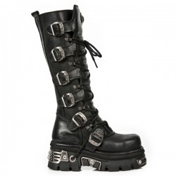 NEW ROCK METAL TOE M.272MT-S1 BLACK REACTOR LEATHER BOOT