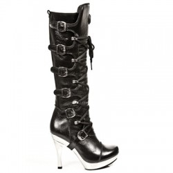 NEW ROCK AGUJA M.5272-S10 NOMAD BLACK PLATFORM HEELS STEEL NEEDLE