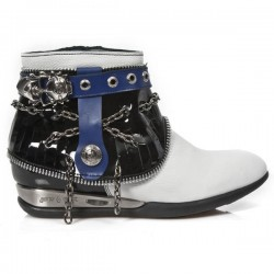 NEW ROCK APACHE M.HY101-C10 BLACK PATENT WHITE ANTIK HYBRID BLUE