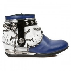 NEW ROCK APACHE M.HY101-C9 ANTIK NAPA WHITE BLUE BLACK PATENT HYBRID