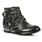 NEW ROCK APACHE M.HY101-S1 VINTAGE FLOWER BLACK ANKLE LEATHER BOOTS, APACHE, APACHE M.HY101-S1, APACHE M.HY101-S1,