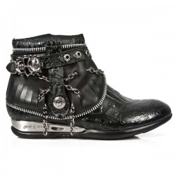 NEW ROCK APACHE M.HY101-S1 VINTAGE FLOWER BLACK ANKLE LEATHER BOOTS