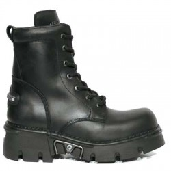 NEW ROCK METALLIC M.563-S1 BLACK Leather Reactor Laced Ankle Boots