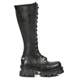 NEW ROCK METALLIC M.235-S1 BLACK Leather Knee Length Reactor Boots