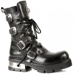 NEW ROCK METALLIC M.373-S1 BLACK Leather Planning Steel Heel Boots