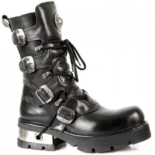 NEW ROCK METALLIC M.373-S1 BLACK Leather Planning Steel Heel Boots, METALLIC, METALLIC M.373-S1, METALLIC M.373-S1,