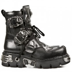 NEW ROCK METALLIC M.407-S1 BLACK Leather Silver Cross Reactor Sole Ankle Boots