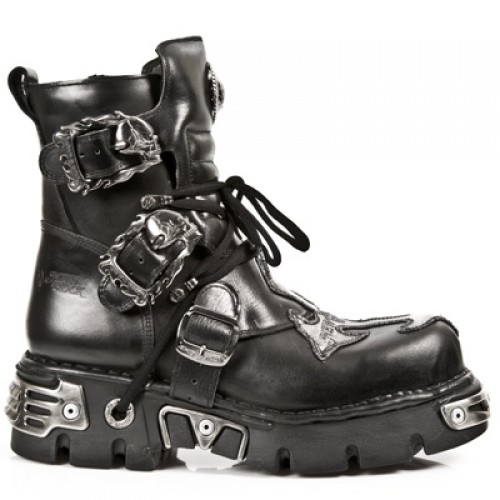 NEW ROCK METALLIC M.407-S1 BLACK Leather Silver Cross Reactor Sole Ankle Boots, METALLIC, METALLIC M.407-S1, METALLIC M.407-S1,