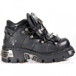 NEW ROCK METALLIC M.110-S1 BLACK Leather Spikes Reactor Sole Shoes