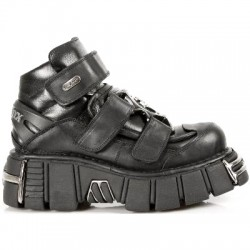 NEW ROCK METALLIC M.285-S1 BLACK Leather Tower Sole Shoes