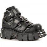 NEW ROCK METALLIC M.285-S1 BLACK Leather Tower Sole Shoes, METALLIC, METALLIC M.285-S1, METALLIC M.285-S1,