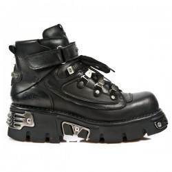 NEW ROCK METALLIC M.654-S1 BLACK Leather Reactor Sole Shoes