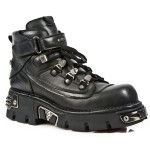 NEW ROCK METALLIC M.654-S1 BLACK Leather Reactor Sole Shoes, METALLIC, METALLIC M.654-S1, METALLIC M.654-S1,