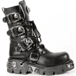NEW ROCK METALLIC M.391-S1 BLACK Leather Reactor Skull Buckle Boots