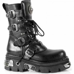 NEW ROCK METALLIC M.373-S4 BLACK Leather Reactor E14 Sole Boots