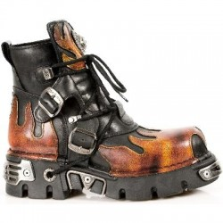 NEW ROCK METALLIC M.288-S1 BLACK Leather Red Flame Reactor Sole Ankle Boots