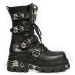 NEW ROCK METALLIC M.375-S1 BLACK Leather SKULL Reactor E14 Sole Boots, METALLIC, METALLIC M.375-S1, METALLIC M.375-S1,