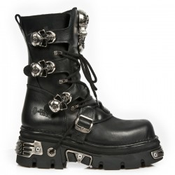 NEW ROCK METALLIC M.375-S1 BLACK Leather SKULL Reactor E14 Sole Boots