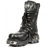 NEW ROCK METALLIC M.107-S2 BLACK Leather Silver Devil Reactor Sole Boots, METALLIC, METALLIC M.107-S2, METALLIC M.107-S2,