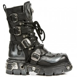 NEW ROCK METALLIC M.107-S2 BLACK Leather Silver Devil Reactor Sole Boots