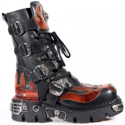 NEW ROCK METALLIC M.107-S1 BLACK Leather Red Devil Reactor Sole Boots