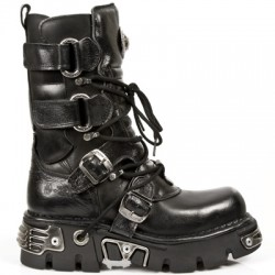 NEW ROCK METALLIC M.575-S1 BLACK Leather Reactor Sole Boots