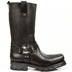 NEW ROCK MOTORCYCLE M.7610-S1 BLACK LEATHER SILVER BUCKLE BOOTS