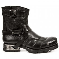 NEW ROCK MOTOROCK M.MR004-S1 BUFFALO BLACK STEEL HEEL LEATHER BOOTS