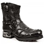 NEW ROCK MOTOROCK M.MR004-S1 BUFFALO BLACK STEEL HEEL LEATHER BOOTS, MOTOROCK, MOTOROCK M.MR004-S1, MOTOROCK M.MR004-S1,