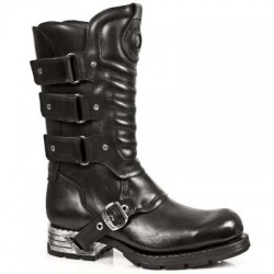 NEW ROCK MOTOROCK M.MR005-S1 BLACK STEEL HEEL LEATHER BOOTS