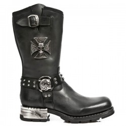 NEW ROCK MOTOROCK M.MR030-S1 BLACK STEEL HEEL LEATHER BOOTS