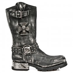NEW ROCK MOTOROCK M.MR030-S2 VINTAGE BLACK STEEL HEEL LEATHER BOOTS