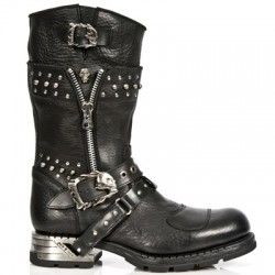 NEW ROCK MOTOROCK M.MR022-S1 BUFFALO BLACK STEEL HEEL LEATHER BOOTS